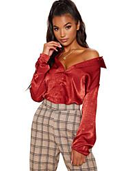 billige -Dame - Ensfarvet Boheme Skjorte