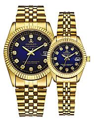 Недорогие -Для пары Наручные часы золотые часы Кварцевый согласование Его и ее Золотистый 30 m Календарь Творчество Аналоговый Роскошь Элегантный стиль - Золотой