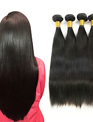 cheap -4 Bundles Straight 8A Human Hair Unprocessed Human Hair Headpiece Natural Color Hair Weaves / Hair Bulk Hair Care 8-28 inch Natural Color Human Hair Weaves Smooth Best Quality Hot Sale Human Hair