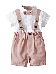 tanie -Dzieci Dla chłopców Solidne kolory Krótki rękaw Komplet odzieży