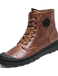Недорогие -Муж. Комфортная обувь Кожа Осень Ботинки Черный / Серый / Коричневый