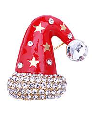 baratos -Mulheres Zircônia cúbica Clássico Broches - Ternos de Papai Noel, Capacete Clássico, Desenho, Fashion Broche Vermelho Para Natal / Diário