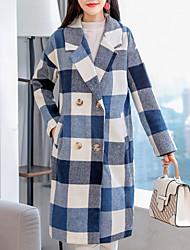 Недорогие -длинное шерстяное пальто женщин - плед / клетчатый