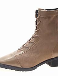 billige -Dame Fashion Boots PU Efterår Afslappet Støvler Kraftige Hæle Støvletter Sort / Kakifarvet