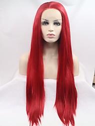 voordelige -Pruik Lace Front Synthetisch Haar Recht Bordeaux Gelaagd kapsel Rood 180% Human Hair Density Synthetisch haar 20-26 inch(es) Dames Dames Bordeaux Pruik Lang Kanten Voorkant Sylvia / Ja