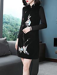 abordables -Femme Sophistiqué / Elégant Trapèze / Noir Robe - Brodée, Fleur Au dessus du genou