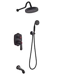 Недорогие -Смеситель для душа - Античный Начищенная бронза На стену Керамический клапан Bath Shower Mixer Taps / Латунь / Одной ручкой четыре отверстия