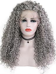 Недорогие -Синтетические кружевные передние парики Кудрявый Серый Свободная часть Серый Искусственные волосы 24 дюймовый Жен. Регулируется / Жаропрочная / Для вечеринок Серый Парик Длинные Лента спереди / Да