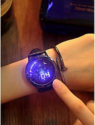 Недорогие -Для пары Спортивные часы Кварцевый Кожа Черный Секундомер Творчество Новый дизайн Аналоговый Блестящие минималист - Синий Белый / розовый Черный / Rose Red Один год Срок службы батареи / Светящийся