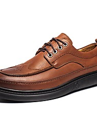 Недорогие -Муж. Официальная обувь Наппа Leather Осень На каждый день / Английский Туфли на шнуровке Массаж Черный / Коричневый