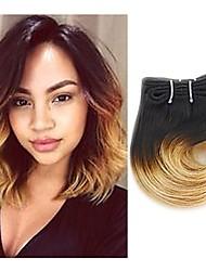 Недорогие -4 Связки Индийские волосы Прямой 8A Натуральные волосы Омбре 8 дюймовый Ткет человеческих волос Расширения человеческих волос Жен.