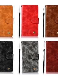 رخيصةأون -غطاء من أجل HTC U11 محفظة / حامل البطاقات / مع حامل غطاء كامل للجسم لون سادة قاسي جلد PU إلى HTC U11