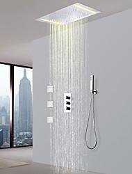 abordables -Robinet de douche - Moderne Chrome Soupape en laiton Bath Shower Mixer Taps / Laiton / Trois poignées cinq trous