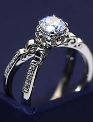 billige -Dame Klar Kvadratisk Zirconium Crossover Ring - Platin Belagt, Simuleret diamant Flower Shape Unikt design, Trendy, Elegant 6 / 7 / 8 / 9 / 10 Sølv Til Fest Stævnemøde