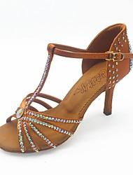 Недорогие -Жен. Обувь для латины Сатин Сандалии Лак / Crystal / Rhinestone Тонкий высокий каблук Танцевальная обувь Коричневый