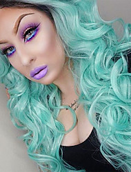 voordelige -Pruik Lace Front Synthetisch Haar Golvend / BodyGolf Zwart Middelste stuk Zwart / groen Synthetisch haar 26inch Dames Feest / synthetisch Zwart / Groen Pruik Lang Kanten Voorkant / Ja