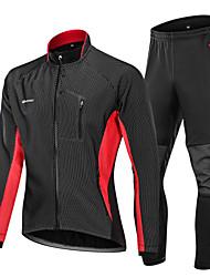 Недорогие -Nuckily Муж. Велокуртка и брюки - Черный / красный / Черный / зеленый / Черный / синий Велоспорт Наборы одежды, С защитой от ветра, Флисовая подкладка, Сохраняет тепло, Зима, Полиэстер, Спандекс