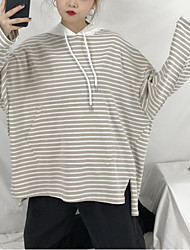 billige -Dame langærmet hættetrøje - stribet hættetrøje