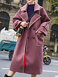 billige -kvinder går ud lang slank frakke - solidfarvet