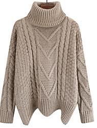 Недорогие -Жен. Повседневные Классический Однотонный Длинный рукав Обычный Пуловер, Хомут Зеленый / Желтый / Хаки Один размер