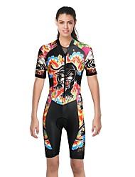 Недорогие -ILPALADINO Жен. С короткими рукавами Костюм для триатлона - Черный Мода Велоспорт троеборье, Ультрафиолетовая устойчивость Эластан