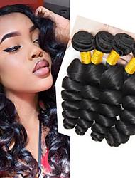 Недорогие -4 Связки Бразильские волосы Свободные волны 8A Натуральные волосы Удлинитель Пучок волос One Pack Solution 8-28 дюймовый Нейтральный Естественный цвет Ткет человеческих волос Машинное плетение