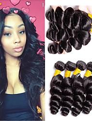 Недорогие -4 Связки Малазийские волосы Свободные волны 8A Натуральные волосы Необработанные натуральные волосы Подарки Удлинитель Пучок волос 8-28 дюймовый Естественный цвет Ткет человеческих волос