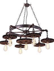Недорогие -7-голова старинная деревянная передача подвеска огни творческая промышленная лампа жилая комната ресторан бары одежда магазин свет