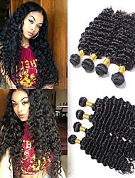 Недорогие -4 Связки Бразильские волосы / Перуанские волосы Крупные кудри Натуральные волосы / Необработанные натуральные волосы Подарки / Косплей Костюмы / Человека ткет Волосы 8-28 дюймовый Естественный цвет
