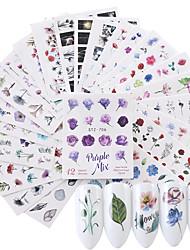 Недорогие -24 pcs 3D наклейки на ногти Наклейка для переноса воды Цветы маникюр Маникюр педикюр Экологичные / Многофункциональный Мода Повседневные