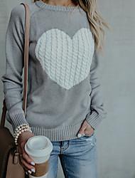abordables -Femme Quotidien Basique Géométrique / Cœur Manches Longues Mince Normal Pullover Beige / Marine / Gris L / XL / XXL