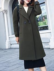 Недорогие -Жен. На выход Длинная Пальто, Однотонный Воротник Питер Пен Длинный рукав Полиэстер Военно-зеленный / Хаки M / L / XL