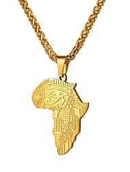 Недорогие -Муж. Классический карта Ожерелья с подвесками Нержавеющая сталь Карты Глаза Глаз Гора Классика Мода Африка африканец Черный Серебряный Розовое золото 55 cm Ожерелье Бижутерия 1шт Назначение