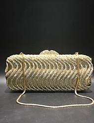 Недорогие -Жен. Мешки PU / Сплав Вечерняя сумочка Кристаллы Сплошной цвет Золотой / Серебряный