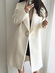 Недорогие -Жен. Повседневные Классический Длинная Тренч, Однотонный Отложной Длинный рукав Шерсть Белый / Розовый L / XL / XXL