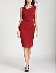 Недорогие -женская работа линия платье высокая талия длиной до колена v шея