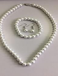 preiswerte -Damen Perle Schmuck-Set - Perle Elegant, Brautkleidung Einschließen Stränge Halskette Halskette / Ohrringe Weiß Für Hochzeit Party / Halsketten