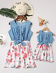 Недорогие -Мама и я Активный Повседневные Цветочный принт Без рукавов Платье Белый