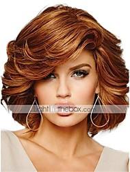 Недорогие -Человеческие волосы без парики Натуральные волосы Кудрявый Боковая часть Средние Машинное плетение Парик Жен.