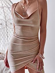 abordables -Femme Vacances Elégant Mini Mince Gaine Robe - Dos Nu, Couleur Pleine Taille haute A Bretelles Automne Hiver Argent Kaki Lavande M L XL Sans Manches / Sexy