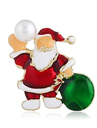 baratos -Mulheres Clássico Broches - Imitação de Pérola Estiloso Broche Dourado Para Natal