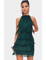 Недорогие -Жен. Элегантный стиль Брюки - Однотонный Зеленый / На бретелях / Сексуальные платья
