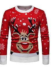 Недорогие -Муж. Рождество / Повседневные Классический Геометрический принт / Животное Длинный рукав Обычный Пуловер Красный L / XL / XXL