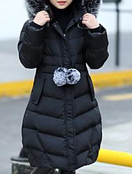 Недорогие -Дети Девочки Классический Повседневные Однотонный Длинный рукав Обычная Хлопок / Полиэстер На пуховой / хлопковой подкладке Черный 150
