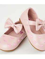 billige -Pige Sko PU Forår & Vinter Mokkasin / Sko til blomsterpiger Fladsko Rosette / Magisk tape for Baby Beige / Lys pink