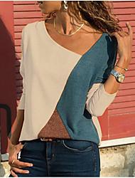 Недорогие -Жен. Большие размеры - Блуза V-образный вырез Контрастных цветов Белый / Весна / Осень