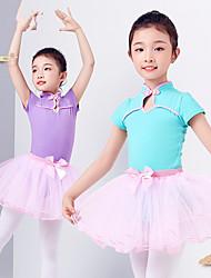 billiga -Balett Outfits Flickor Träning / Prestanda Elastan / Lycra Rosett(er) / Kombination Kortärmad Kjolar / Trikå / Onesie