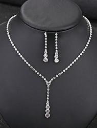 baratos -Mulheres Clássico Conjunto de jóias - Doce, Elegante Incluir Sets nupcial Jóias Branco Para Casamento Festa