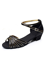 baratos -Mulheres Sapatos de Dança Latina / Dança de Salão Cetim / Courino Salto Salto Robusto Não Personalizável Sapatos de Dança Black and Gold
