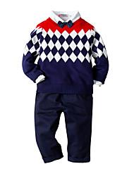 Недорогие -Дети Дети (1-4 лет) Мальчики Активный Классический Повседневные День рождения Контрастных цветов Длинный рукав Обычный Обычная Набор одежды Темно синий